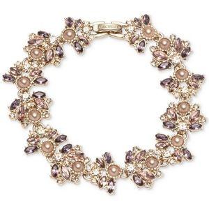 Crystal & Imitation Pearl Cluster Flex Bracelet